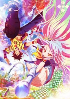 """No Game No Life #fantasy #comedy Sora and Shiro, a brother and sister (shut-in) gamers have spawned urban legends all over the Internet. One day, they are summoned by a boy named """"God"""" to an alternate world. Humanity has been driven back into one remaining city by the other races. Will Sora and Shiro become the """"Saviors of Humanity"""" on this alternate world?"""