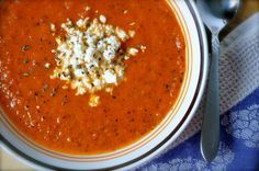 Famoso Fire-Roasted Tomato Bisque - my favorite soup in the world! Roasted Tomato Soup, Tomato Soup Recipes, Fire Roasted Tomatoes, Veggie Recipes, Cooking Recipes, Tomato Bisque Soup, Tomato Bisque Recipe, Soft Foods, Everyday Food