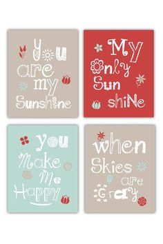 You are my sunshine Art Prints, 4-8x10 prints, Coordinates with Cocalo's Taffy Bedding, for nursery, or playroom on Etsy, $55.00