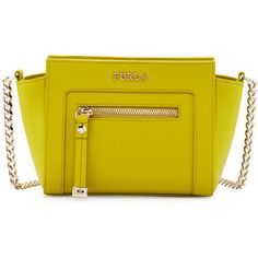Furla Ginerva Mini Leather Crossbody Bag ($180) ❤ liked on Polyvore featuring bags, handbags, shoulder bags, jade, yellow leather handbags, leather cross body purse, leather cross body handbags, yellow leather purse and leather purses