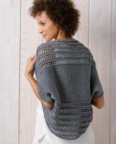 Easy Crochet Shrug, Crochet Tunic Pattern, Crochet Cardigan, Knitted Shawls, Knitted Bags, Knit Crochet, Crochet Hats, Hand Knitting, Knitting Patterns