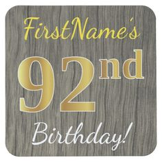 Faux Wood, Faux Gold 92nd Birthday + Custom Name Square Paper Coaster