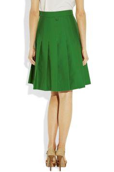 Black FleecePleated cotton-piqué skirtback