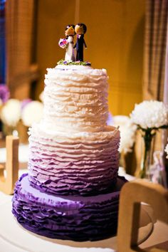 Purple Ombre cake! Photography by Jenny Sun Photography / weddingtonway.com/, Floral Design by Butterfly Philosophy Flowers