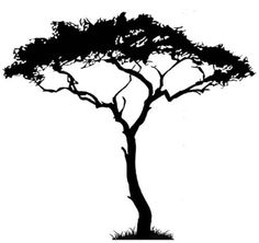 african tree decal in white