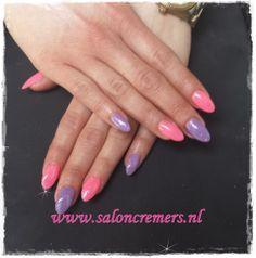 almond shape neon pink and lila glitter nails nail art