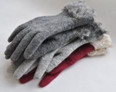 Felted grey wool mittens ombre mittens women merino wool grey gloves red pink orange leaves arm warmers Christmas gift - Handmade to Order Grey Gloves, Wool Gloves, Safety Gloves, Hand Gloves, Orange Leaf, Giant Paper Flowers, Fingerless Mittens, Handmade Christmas Gifts, Felt Art