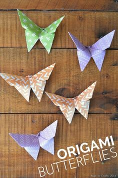 Origami Butterfly Tutorial - Mad in Crafts Origami Butterfly Instructions, Origami Butterfly Easy, Origami Simple, Kids Origami, Origami Fish, Butterfly Crafts, Origami Art, Butterfly Mobile, Origami Boxes