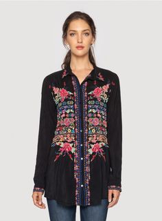 Johnny Was Clothing Embroidered Talin Blouse in Black
