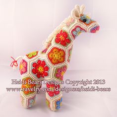 Jedi the Curious Giraffe African Flower Crochet Pattern - This pattern is available for $6.50 USD. Jedi is the seventh of my patterns that makes use of the African Flower hexagon crochet motif and variations thereof, joined in a specific order to make a recognizable 3D item.