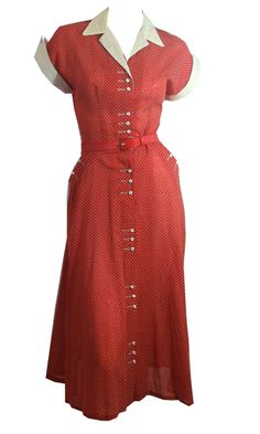vintage Candy Red Swiss Dot Lucy Style 1950s by DorotheasCloset