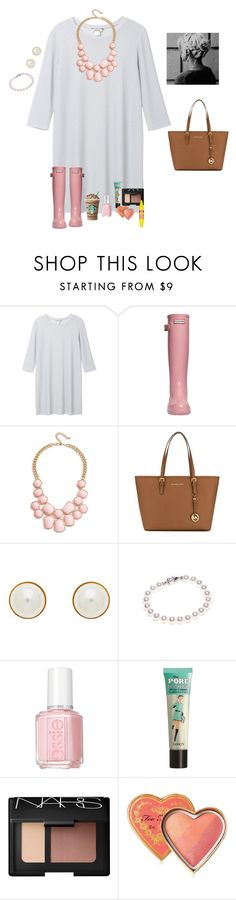 """""""Hunters+dresses=😍😍"""" by raquate1232 ❤ liked on Polyvore featuring Monki, Hunter, GUESS, MICHAEL Michael Kors, Finesse, Nadri, Essie, Benefit, NARS Cosmetics and Too Faced Cosmetics"""