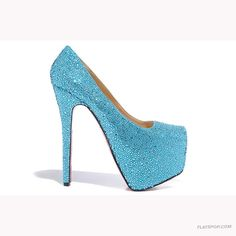 Original Christian Louboutin Rhinestone Red Sole Pumps Wedding Shoes Blue omg I love these!