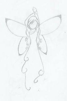 Drawing Doodle Easy Fairy by angelkittin on deviantART Will go on my right shoulder so I will always have an angel watching over me - Doodle Art, Doodle Drawings, Cute Drawings, Drawing Sketches, Pencil Drawings, Sketching, Drawing Tips, Fairy Drawings, Fairy Wings Drawing