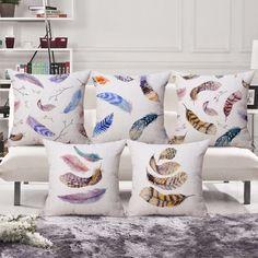 SewCrane Retro Abstract Colourful Feather Print Decorative Throw Pillow Cushion Cover, 45cm x 45cm #pillow covers #throw pillows #decorative pillows #cushion covers #couch pillows #boho #sofa #bench #20x20 #18x18 #16x16 #