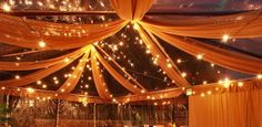 Ceiling swag - lights and draped fabric