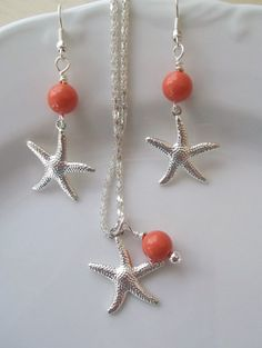 Starfish Bridesmaid Jewelry Set,Silver Starfish Swarovski Pearls Necklace & Earrings Set,Beach Wedding Destination,Bridesmaid Bridal Jewelry...