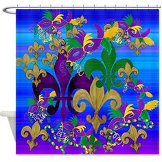 """Psycadelic Mardi Gras fleur de lis shower curtain from my art. Size 70"""" x 70"""" 100% softened polyester, Machine washable Standard size with 12 stitch-enforced eyelets for hanging,Custom sizes available"""