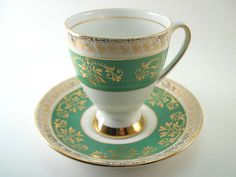 Antique Royal Stafford Kelly green Tea Cup & Saucer, English tea cup and saucer…