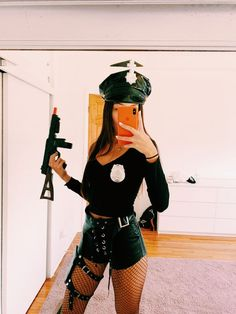 Easy DIY Halloween Costumes for Women – Cops Cop Halloween Costume for Women Diy Halloween Costumes For Women, Halloween Party Costumes, Easy Halloween, Costume Ideas, Cop Diy Costume, Cute Halloween Outfits, Swat Costume, Sexy Pirate Costume, Police Officer Costume