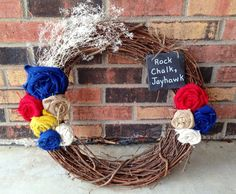 Kansas Jayhawks Rock Chalk Jayhawk Burlap Wreath - I MIGHT be able to make this @Ashley Walters Landis