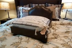 Luxury Dog Bed.  Upholstered Headboard and custom cushion - $325  Designed by J'Adore Custom Pet Beds