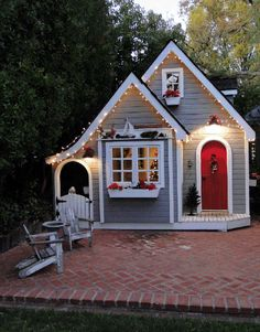 The English Cottage Playhouse #outdoorplayhouse #buildplayhouse