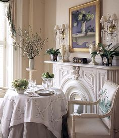 Love the floral chair back being repeated throughout space! Gorgeous fireplace and mantle. White Fireplace, Fireplace Design, Fireplace Mantels, Fireplaces, Giraffe Room, Bedroom Sitting Room, Floral Chair, Beautiful Interior Design, Article Design