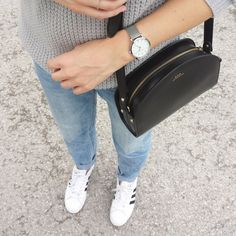 tifmys - Rosefield watch, A.P.C. Half-moon bag, H&M denim & Adidas Superstar sneakers.