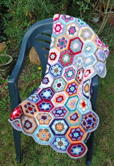 Colourful Crochet Afgan Blanket Handmade blanket by evefashion, £185.00