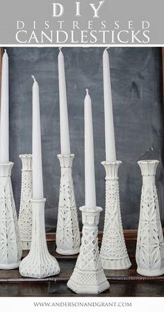 DIY distressed candlesticks