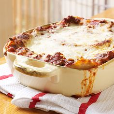 Extra-Easy Lasagna-Lasagna recipes don't get any easier than this 5-ingredient version. You don't even have to cook the noodles before layeringthem in the baking dish.