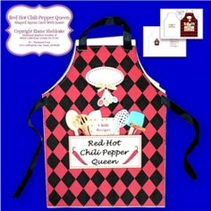 Red Hot Chili Pepper Queen   Shaped Cut   Fold Apron Card  Insert   Verse on Craftsuprint - View Now!