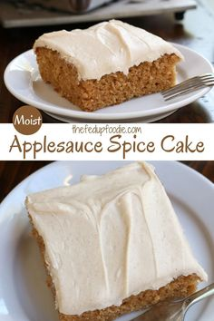 A delicious cinnamon cream cheese frosting tops this Applesauce Spice Cake recipe. Fragrant autumn spices of nutmeg, cinnamon, cloves, and ginger make this dessert the perfect addition to your Thanksgiving dinner menu. #AppleSpiceCake #AppleCinnamonCake #ApplesauceCake #SpiceCake #OldFashionedApplesauceSpiceCake #HealthyApplesauceSpiceCake #SpiceCakewithCinnamonCreamCheeseFrosting #ThanksgivingDesserts #ThanksgivingSpiceCake
