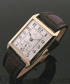 An 18ct gold rectangular vintage Omega watch, 1927