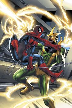"""#Spiderman #Fan #Art. (Spider-Man vs Electro Marvel Age: Spider-Man Vol 1) By: Michael Ryan. (To watch """"Spiderman VS Electro"""" simply tap the URL below while in your browser:   https://m.youtube.com/watch?v=aOHShL_X6_8  (THE * 5 * STÅR * ÅWARD * OF: * AW YEAH, IT'S MAJOR ÅWESOMENESS!!!™)[THANK Ü 4 PINNING<·><]<©>"""