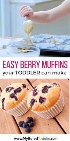 Berry Muffin recipe for Toddlers to Make easy berry muffins your toddler can make . Baking with toddlers. Toddler recipeseasy berry muffins your toddler can make . Baking with toddlers. Easy Baking For Kids, Baking With Toddlers, Recipes Kids Can Make, Baking Recipes For Kids, Easy Meals For Kids, Toddler Meals, Kids Meals, Baking With Children, Easy Recipes For Kids