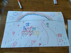31 augustus: Na de kindertekening moesten we een plastische tekening maken dus bijvoorbeeld met een horizon of groot voorin - klein achterin.