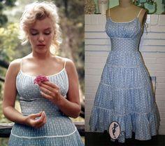 Marilyn Monroe Polka dot Dress- Blue Full Gathered Tierd Skirt-Custom Made to Size