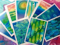Handmade Art postcard set of 10 fish sea fishing boats jellyfish illustrations original pieces by Ellen Curgenven.