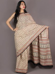 Ivory Maroon Black Hand Block Printed in Natural Colors Cotton Mul Saree - S03170937