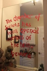 Red Paint on Waxed Paper. tape over mirror : ) or paint on back of large, torn paper (wrapping paper) tack to wall