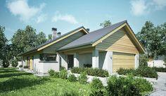 Projekt domu parterowego Ibis II o pow. 119,6 m2 z obszernym garażem, z dachem dwuspadowym, z tarasem, sprawdź! House Plans Mansion, Modern Barn House, Architect House, Atrium, Home Fashion, Exterior Design, Planer, Bungalow, House Design
