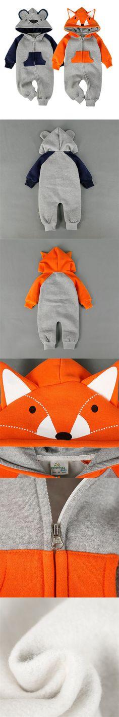 New Fashion Animal Baby Romper Fox Bebe Infant Clothing Baby Boy Girl Clothes Cute Cartoon Bear Winter Warm Jumpsuit Costume $12.99