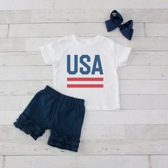 These adorable sets are super stylish, soft and comfortable for play time! Ruffle Shorts, Short Set, Ribbon Bows, Celebration, Usa, Stylish, Cotton, T Shirt, Tops