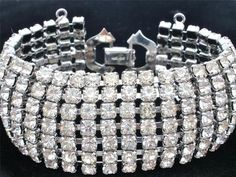 Signed Weiss Clear 7 Row Rhinestone Wide Silver Runway Bracelet Vintage Wedding | eBay