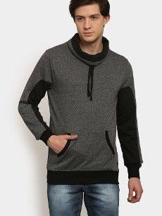 abof Men Dark Grey & Black Regular Fit Sweatshirt Ocr B, All About Fashion, Dark Grey, Athletic, Zip, Sweatshirts, Fitness, Jackets, Black