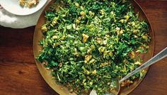 This recipe is an ancient Persian take on the spinach salad from masterful writer Joan Nathan. Spinach is quickly blanched in boiling water, then pulsed in a food processor with cilantro, walnuts and garlic until roughly chopped. Toss with vinegar, salt and pepper and serve at room temperature alongside a chunk of whole grain bread and good butter and you have a delicious spring dinner.