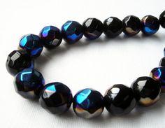 #Onyx Faceted Round #Beads Metallic Indigo Blue by BijiBijoux $12.00 https://www.etsy.com/listing/213472752/onyx-faceted-round-beads-metallic-indigo