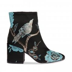Polly Floral Black Ankle Boot